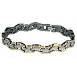"""""""Jázmin"""" titán mágneses karkötő /kígyó formájú ezüst-arany/1506"""